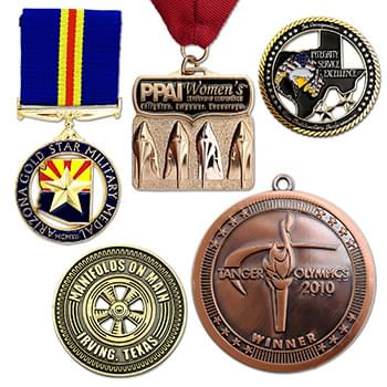 "Die Cast Medals or Charms (1 1/4"")"